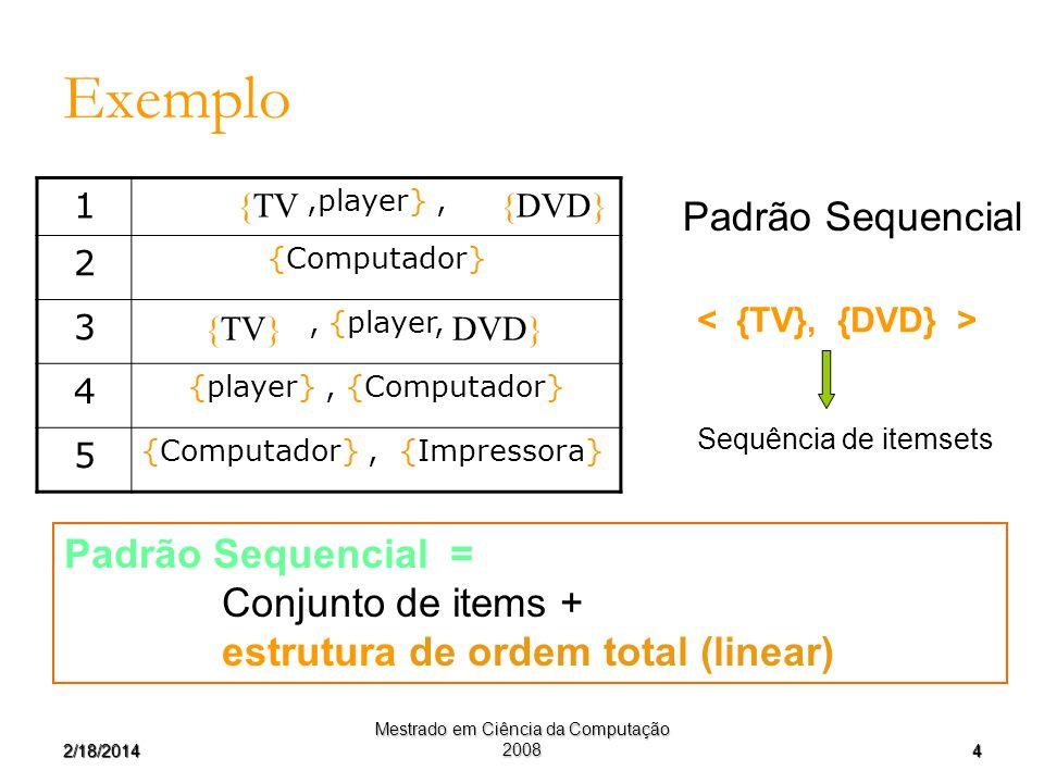 42/18/2014 Mestrado em Ciência da Computação 2008 Exemplo Padrão Sequencial = Conjunto de items + estrutura de ordem total (linear) 1,player}, 2 {Comp