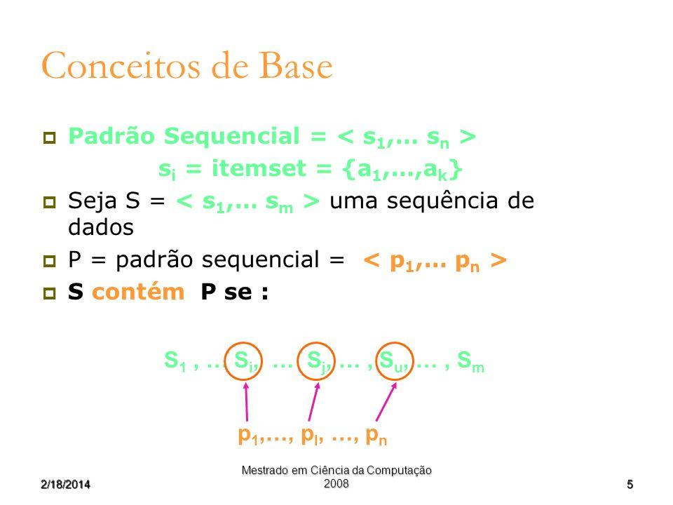 52/18/2014 Mestrado em Ciência da Computação 2008 Conceitos de Base Padrão Sequencial = s i = itemset = {a 1,…,a k } Seja S = uma sequência de dados P