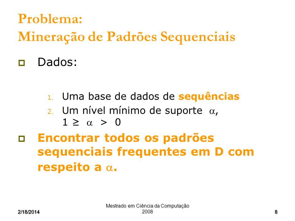 82/18/2014 Mestrado em Ciência da Computação 2008 Problema: Mineração de Padrões Sequenciais Dados: 1. Uma base de dados de sequências 2. Um nível mín