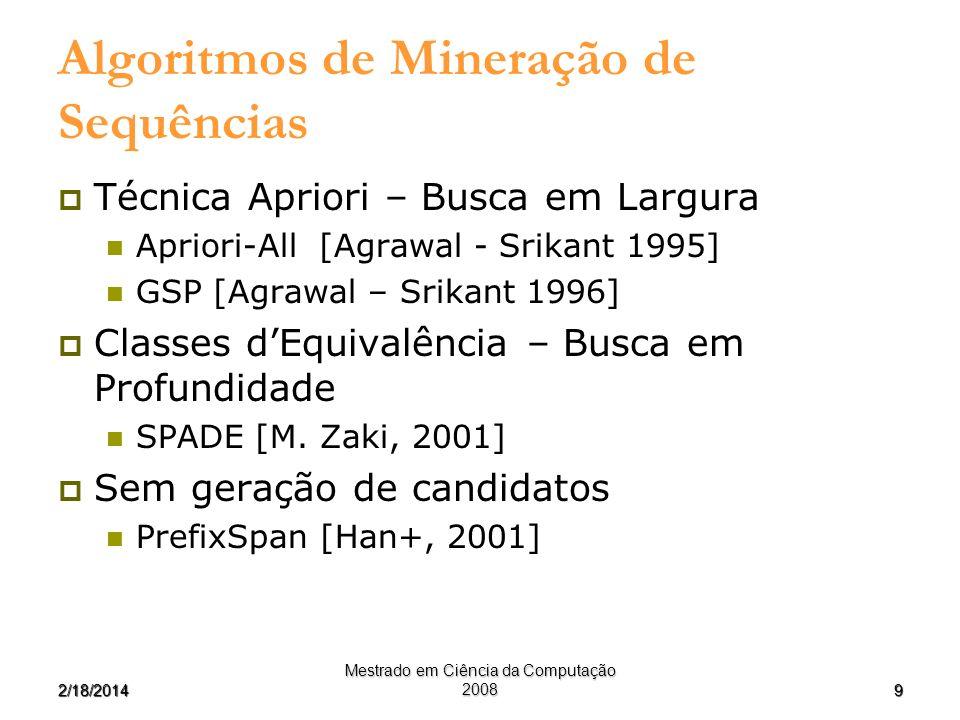 92/18/2014 Mestrado em Ciência da Computação 2008 Algoritmos de Mineração de Sequências Técnica Apriori – Busca em Largura Apriori-All [Agrawal - Srik
