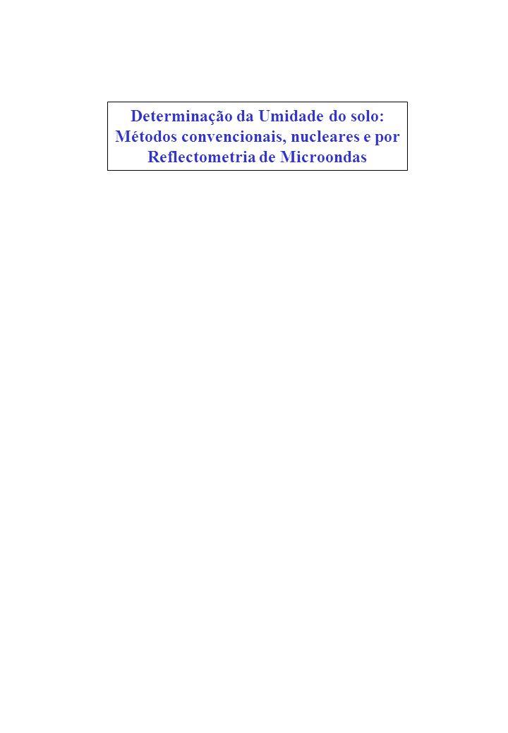 Determinação da Umidade do solo: Métodos convencionais, nucleares e por Reflectometria de Microondas