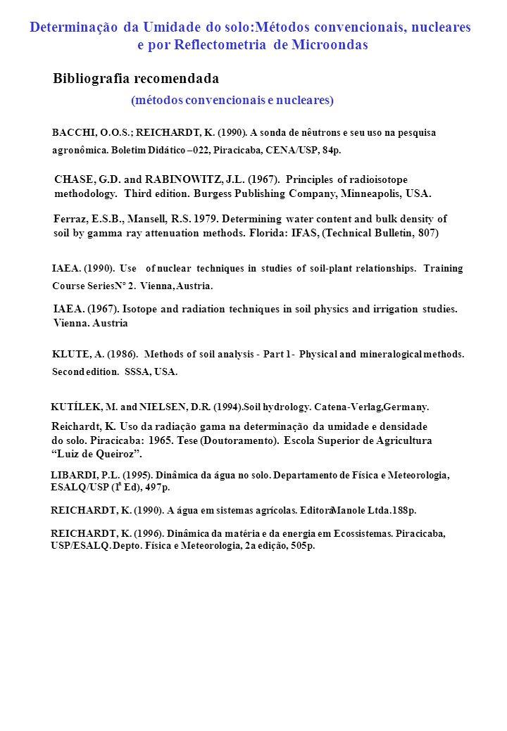 BACCHI, O.O.S.; REICHARDT, K. (1990). A sonda de nêutrons e seu uso na pesquisa agronômica. Boletim Didático –022, Piracicaba, CENA/USP, 84p. IAEA. (1