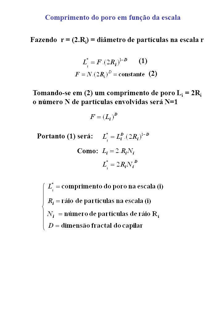 Comprimento do poro em função da escala Fazendo r = (2.R i ) = diâmetro de partículas na escala r Tomando-se em (2) um comprimento de poro L i = 2R i