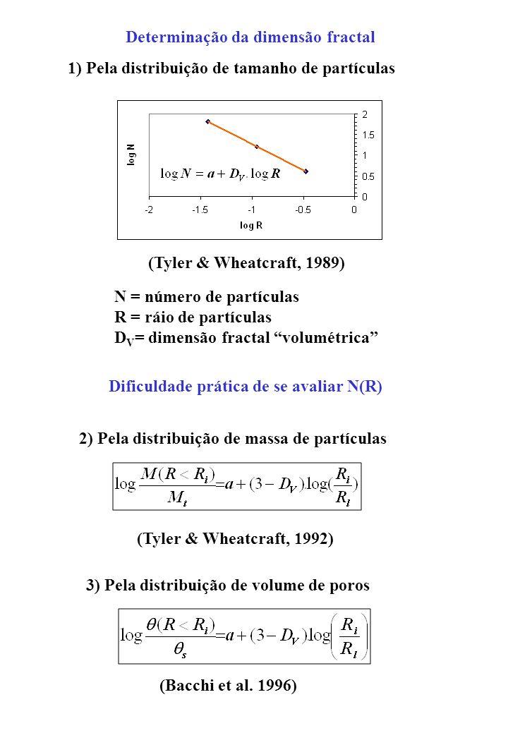 Determinação da dimensão fractal N = número de partículas R = ráio de partículas D V = dimensão fractal volumétrica Dificuldade prática de se avaliar