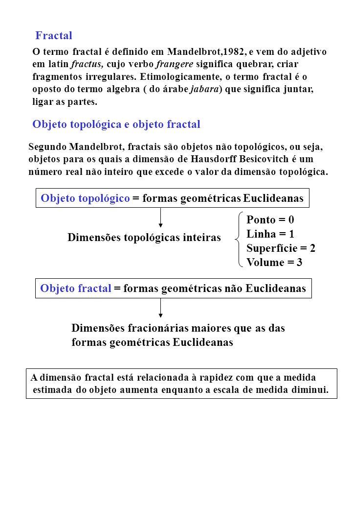 O termo fractal é definido em Mandelbrot,1982, e vem do adjetivo em latin fractus, cujo verbo frangere significa quebrar, criar fragmentos irregulares