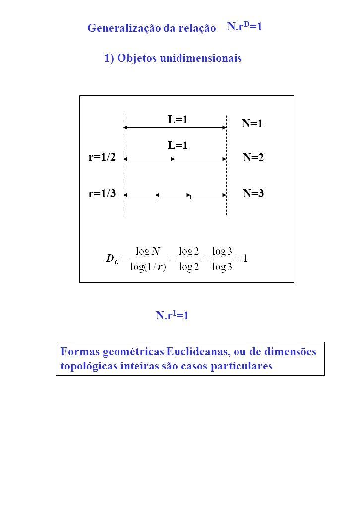 N.r D =1 L=1 N=1 L=1 N=2 N=3 r=1/2 r=1/3 Generalização da relação Formas geométricas Euclideanas, ou de dimensões topológicas inteiras são casos parti