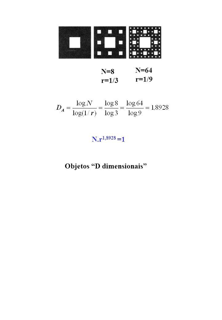 Dimensão fractal e retenção de água no solo r Poro capilar delineado por partículas de solo de diferentes tamanhos comprimento L do poro depende da escala r de medida Na geometria Euclideana Da geometria fractal (1) (2) Substituindo (2) em (1) Se D > 1, (linha tortuosa) L(r) aumenta mais que proporcionalmente a diminuição de r Escala de medida