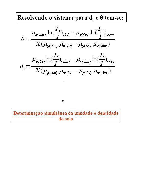 Resolvendo o sistema para d s e tem-se: Determinação simultânea da umidade e densidade do solo