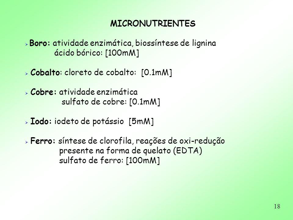 18 MICRONUTRIENTES Boro: atividade enzimática, biossíntese de lignina ácido bórico: [100mM] Cobalto: cloreto de cobalto: [0.1mM] Cobre: atividade enzi