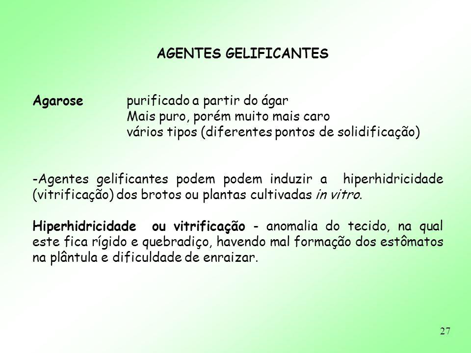 27 AGENTES GELIFICANTES Agarosepurificado a partir do ágar Mais puro, porém muito mais caro vários tipos (diferentes pontos de solidificação) -Agentes