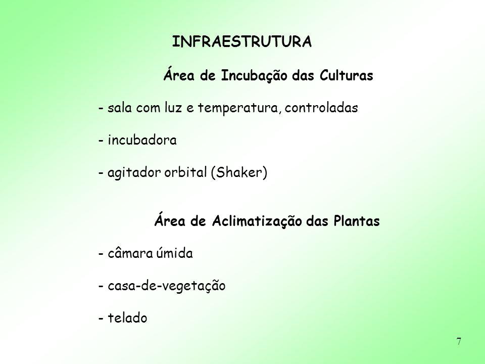 7 INFRAESTRUTURA Área de Incubação das Culturas - sala com luz e temperatura, controladas - incubadora - agitador orbital (Shaker) Área de Aclimatizaç