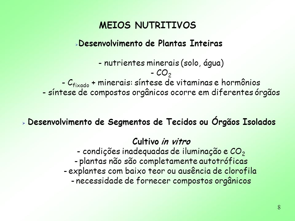 8 MEIOS NUTRITIVOS Desenvolvimento de Plantas Inteiras - nutrientes minerais (solo, água) - CO 2 - C fixado + minerais: síntese de vitaminas e hormôni