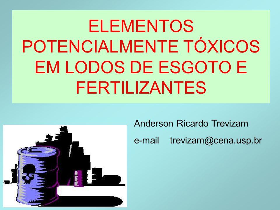 ElementoFertilizantesCETESB FosfatadosMicronutrientesSoloÁgua Alumínio-- Al Antimônio-- Sb Arsênio-- As Bário-- Ba Berílio-- CádmioCd ChumboPb Cobre-- Cu Cobalto-- Co Cromo-- Cr Ferro-- Fe Manganês-- Mn Mercúrio-- Hg-- Molibdênio-- Mo Níquel--Ni Prata-- Ag Selênio-- Se Urânio-- Vanádio-- V Zinco-- Zn