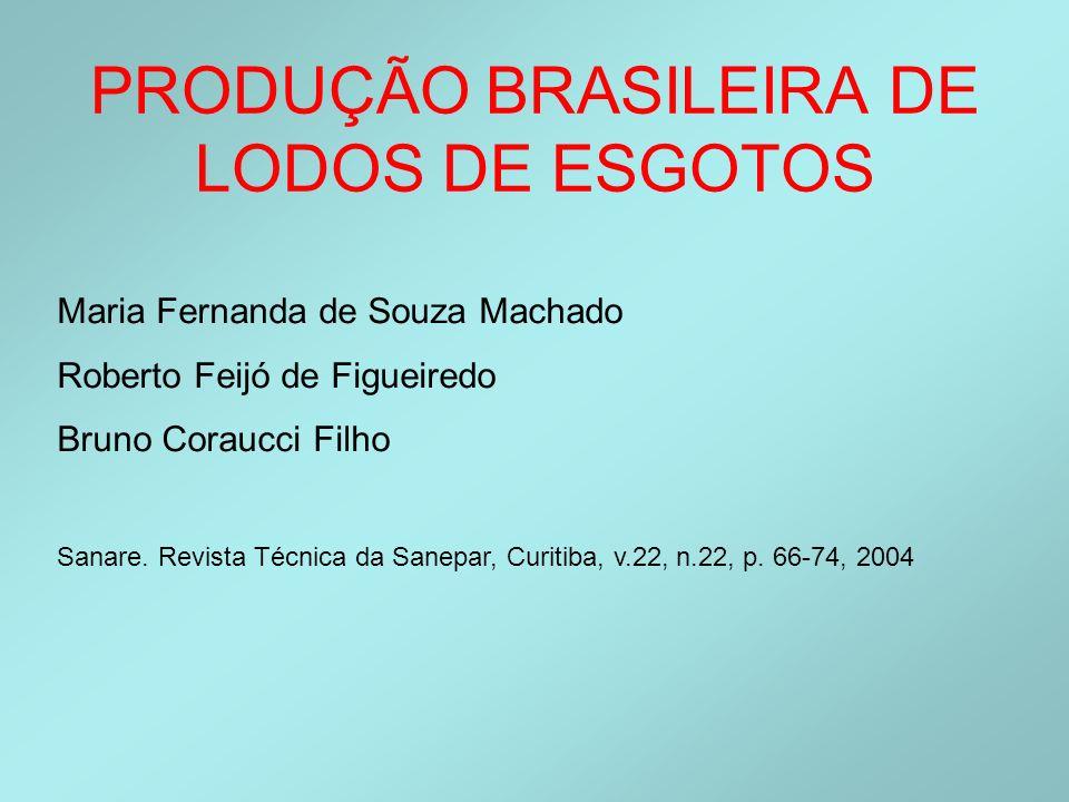PRODUÇÃO BRASILEIRA DE LODOS DE ESGOTOS Maria Fernanda de Souza Machado Roberto Feijó de Figueiredo Bruno Coraucci Filho Sanare. Revista Técnica da Sa