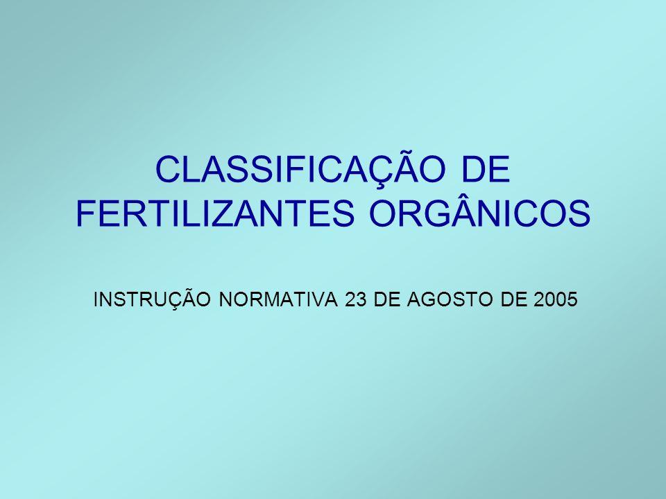 CLASSIFICAÇÃO DE FERTILIZANTES ORGÂNICOS INSTRUÇÃO NORMATIVA 23 DE AGOSTO DE 2005