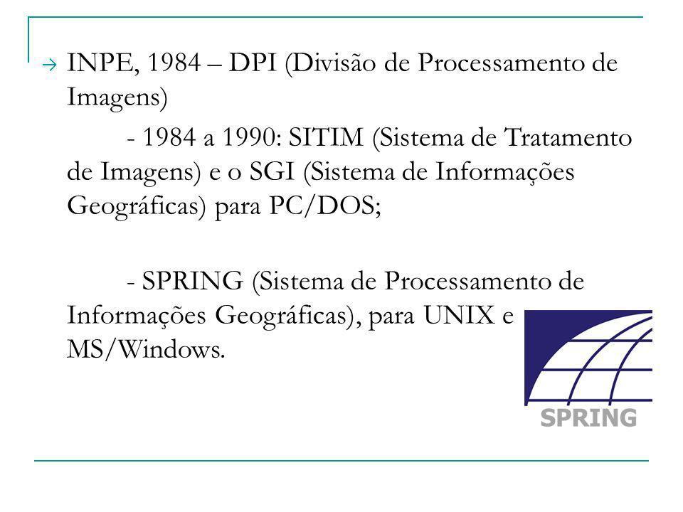 INPE, 1984 – DPI (Divisão de Processamento de Imagens) - 1984 a 1990: SITIM (Sistema de Tratamento de Imagens) e o SGI (Sistema de Informações Geográf