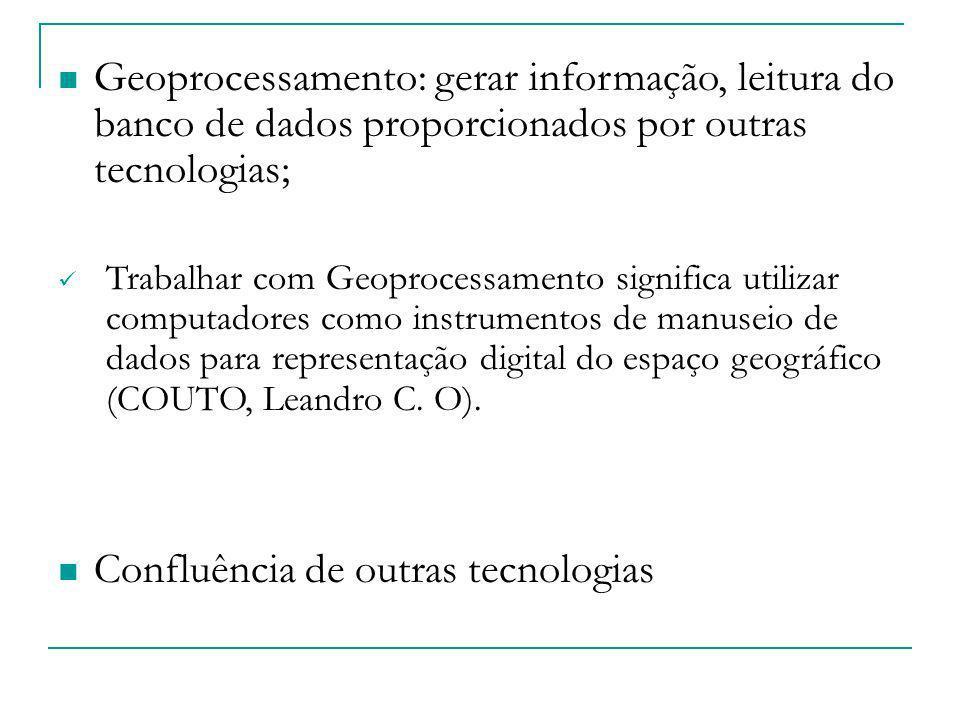 Geoprocessamento: gerar informação, leitura do banco de dados proporcionados por outras tecnologias; Trabalhar com Geoprocessamento significa utilizar