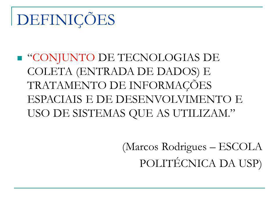 DEFINIÇÕES CONJUNTO DE TECNOLOGIAS DE COLETA (ENTRADA DE DADOS) E TRATAMENTO DE INFORMAÇÕES ESPACIAIS E DE DESENVOLVIMENTO E USO DE SISTEMAS QUE AS UT