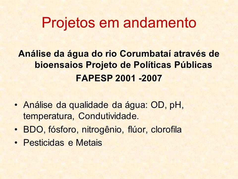 Análise da água do rio Corumbataí através de bioensaios Projeto de Políticas Públicas FAPESP 2001 -2007 Bioensaios com Daphnia magna, Hydra attenuata, Selenastrum capricornutum, Chironomus xanthus, Allium cepa.