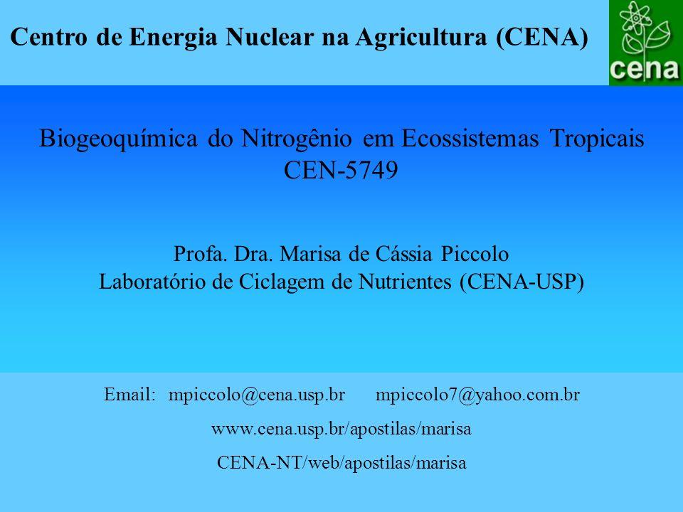 Email: mpiccolo@cena.usp.br mpiccolo7@yahoo.com.br www.cena.usp.br/apostilas/marisa CENA-NT/web/apostilas/marisa Biogeoquímica do Nitrogênio em Ecossi