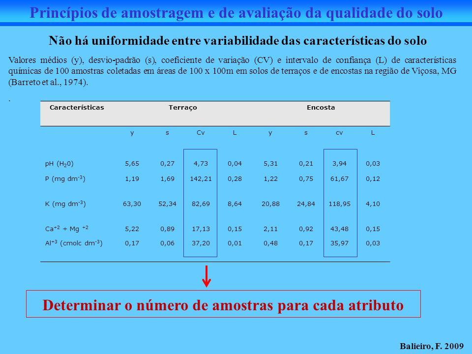 Princípios de amostragem e de avaliação da qualidade do solo CaracterísticasTerraçoEncosta ysCvLyscvL pH (H 2 0)5,650,274,730,045,310,213,940,03 P (mg