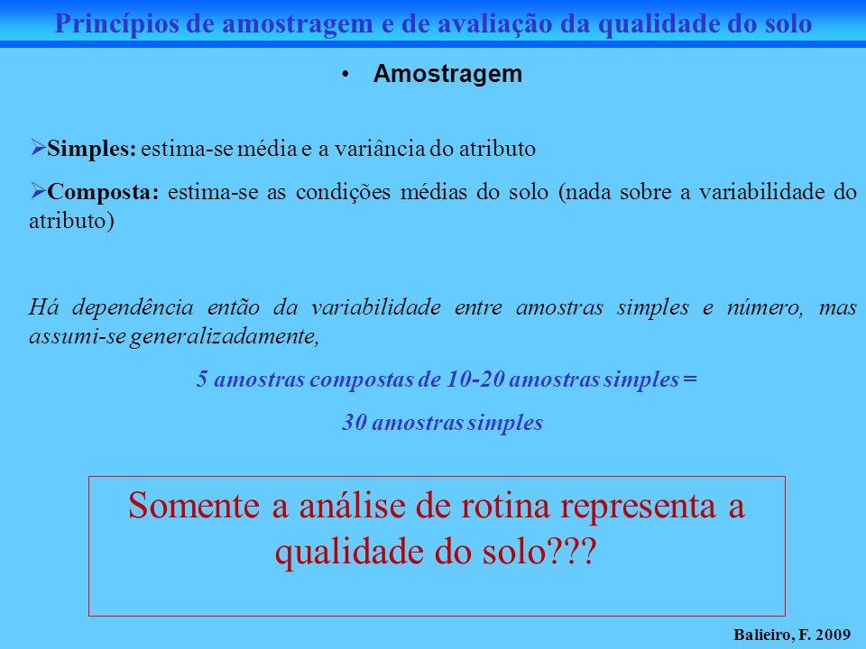 Amostragem Simples: estima-se média e a variância do atributo Composta: estima-se as condições médias do solo (nada sobre a variabilidade do atributo)