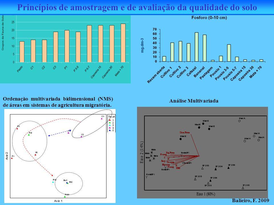 Ordenação multivariada bidimensional (NMS) de áreas em sistemas de agricultura migratória. Análise Multivariada Princípios de amostragem e de avaliaçã