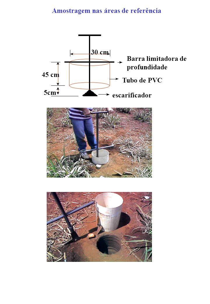 Amostragem nas áreas de referência Barra limitadora de profundidade 30 cm 45 cm 5cm Tubo de PVC escarificador