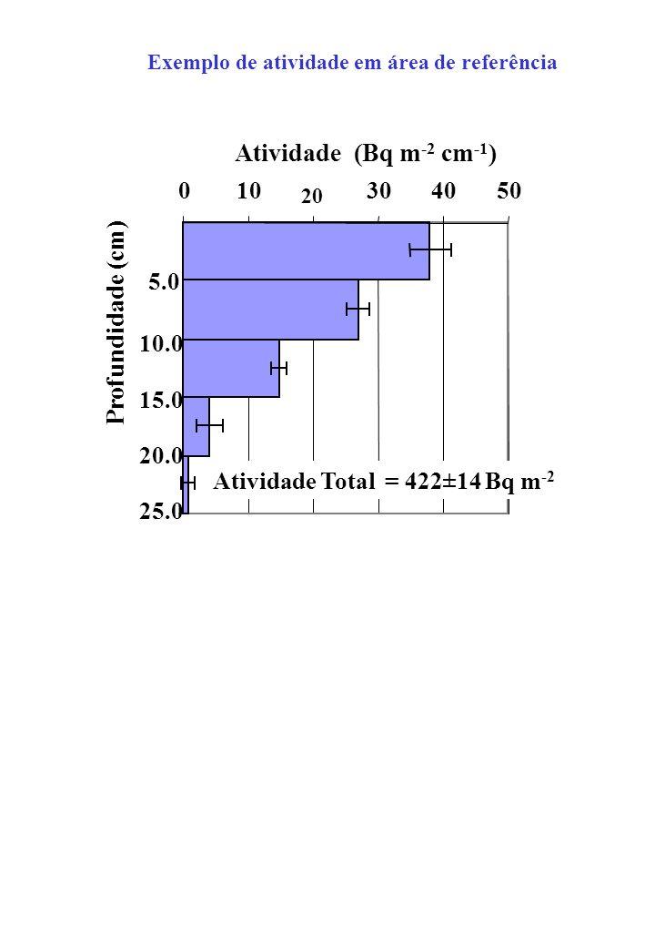 010 20 304050 Profundidade (cm) Atividade (Bq m -2 cm -1 ) 5.0 10.0 15.0 20.0 25.0 Atividade Total = 422±14 Bq m -2 Exemplo de atividade em área de referência