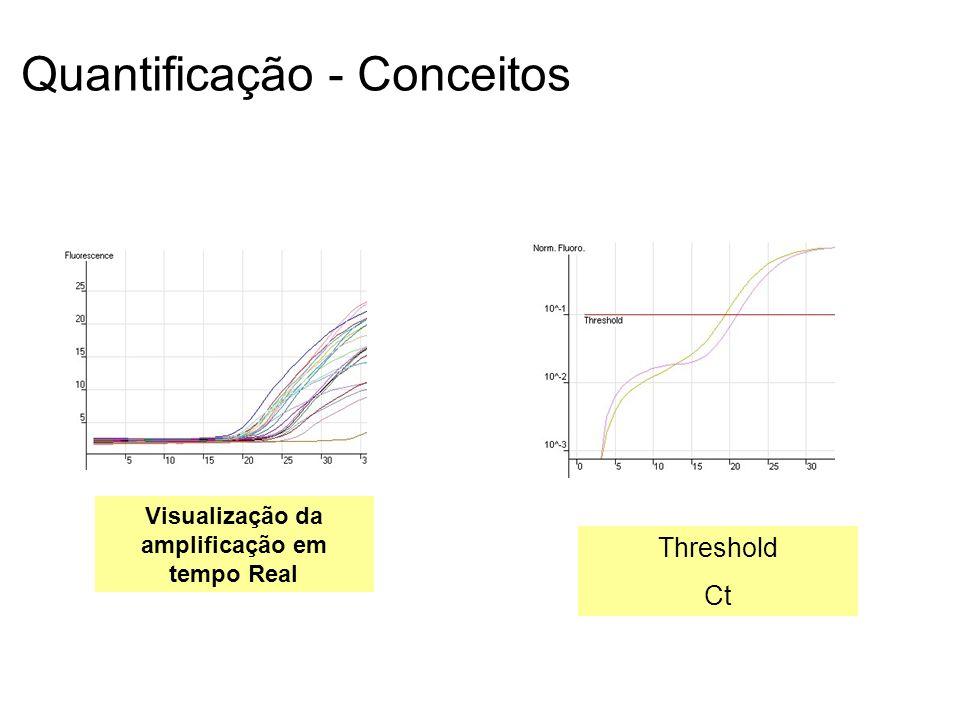 Quantificação - Conceitos Visualização da amplificação em tempo Real Threshold Ct