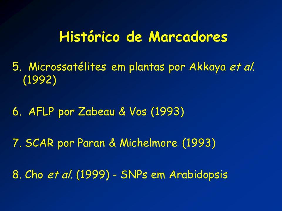 Histórico de Marcadores 5. Microssatélites em plantas por Akkaya et al. (1992) 6. AFLP por Zabeau & Vos (1993) 7. SCAR por Paran & Michelmore (1993) 8