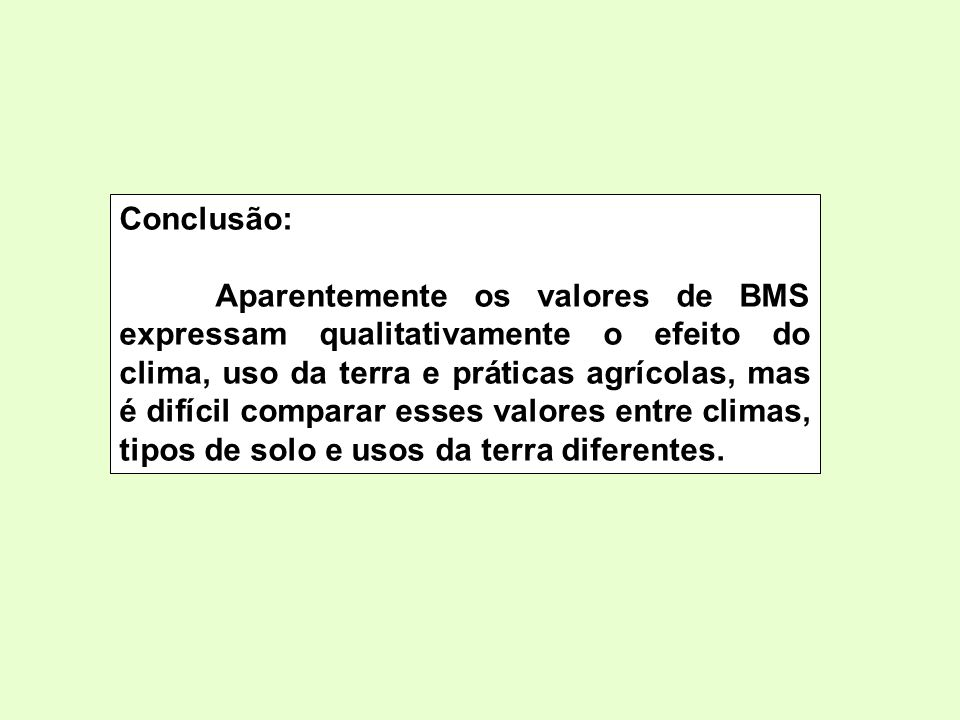 Conclusão: Aparentemente os valores de BMS expressam qualitativamente o efeito do clima, uso da terra e práticas agrícolas, mas é difícil comparar ess