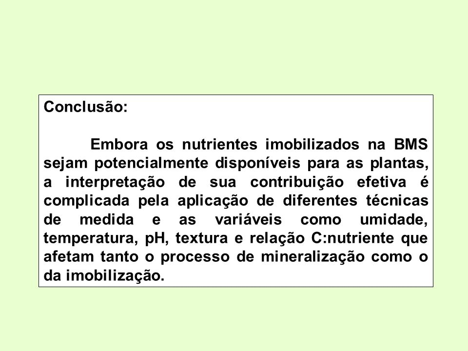 Conclusão: Embora os nutrientes imobilizados na BMS sejam potencialmente disponíveis para as plantas, a interpretação de sua contribuição efetiva é co