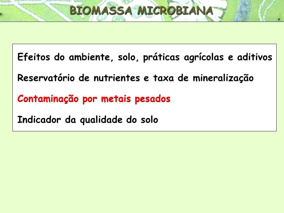 BIOMASSA MICROBIANA Efeitos do ambiente, solo, práticas agrícolas e aditivos Reservatório de nutrientes e taxa de mineralização Contaminação por metai