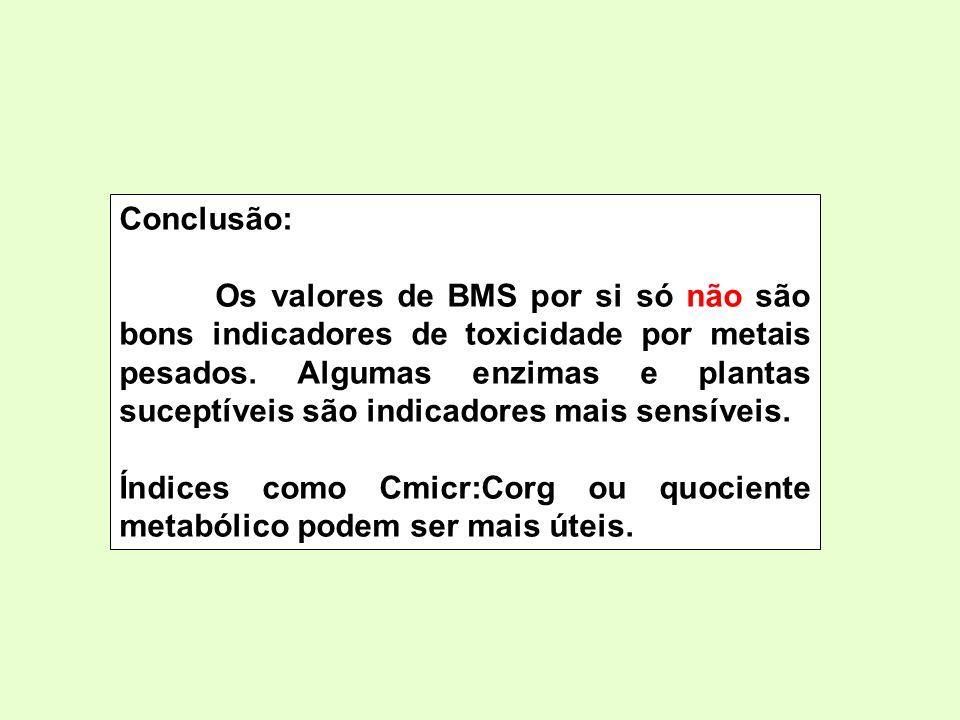 Conclusão: Os valores de BMS por si só não são bons indicadores de toxicidade por metais pesados. Algumas enzimas e plantas suceptíveis são indicadore