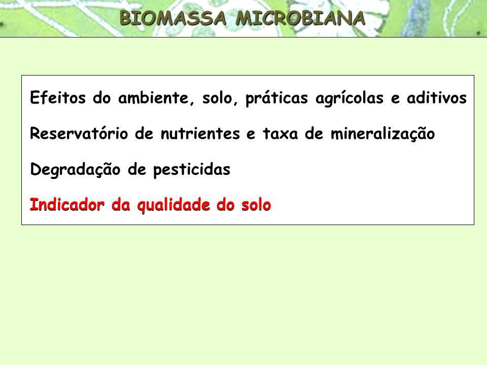 BIOMASSA MICROBIANA Efeitos do ambiente, solo, práticas agrícolas e aditivos Reservatório de nutrientes e taxa de mineralização Degradação de pesticid