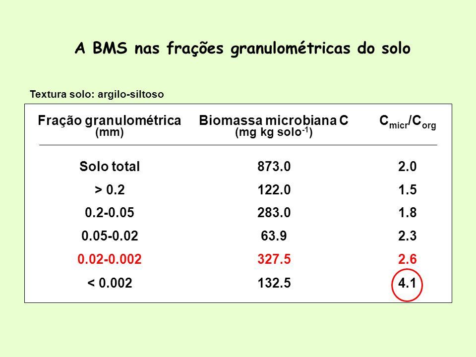 A BMS nas frações granulométricas do solo Textura solo: argilo-siltoso 4.1132.5< 0.002 2.6327.50.02-0.002 2.363.90.05-0.02 1.8283.00.2-0.05 1.5122.0>