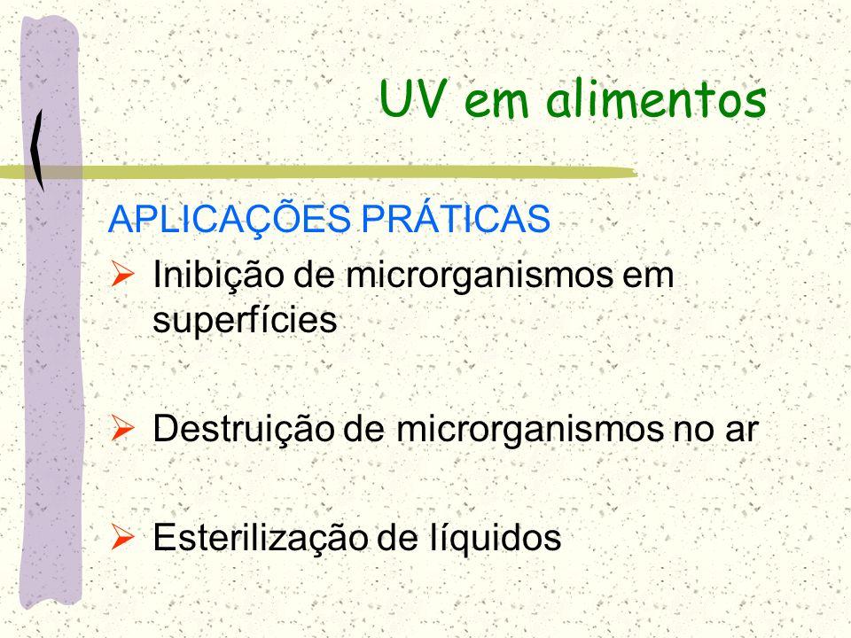 UV em alimentos APLICAÇÕES PRÁTICAS Inibição de microrganismos em superfícies Destruição de microrganismos no ar Esterilização de líquidos