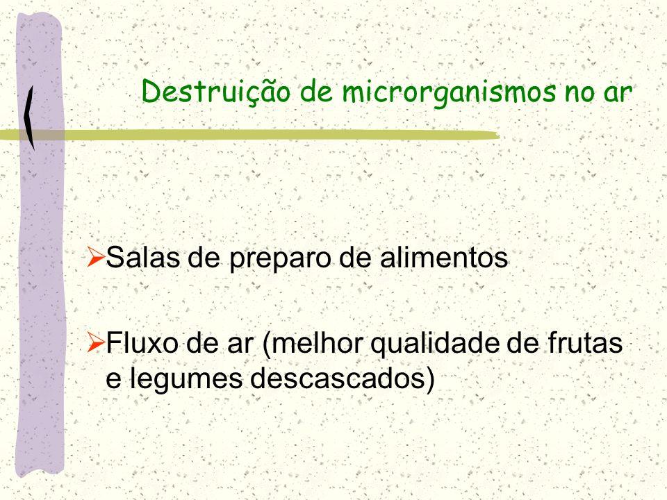 Destruição de microrganismos no ar Salas de preparo de alimentos Fluxo de ar (melhor qualidade de frutas e legumes descascados)