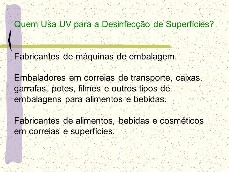 Quem Usa UV para a Desinfecção de Superfícies? Fabricantes de máquinas de embalagem. Embaladores em correias de transporte, caixas, garrafas, potes, f