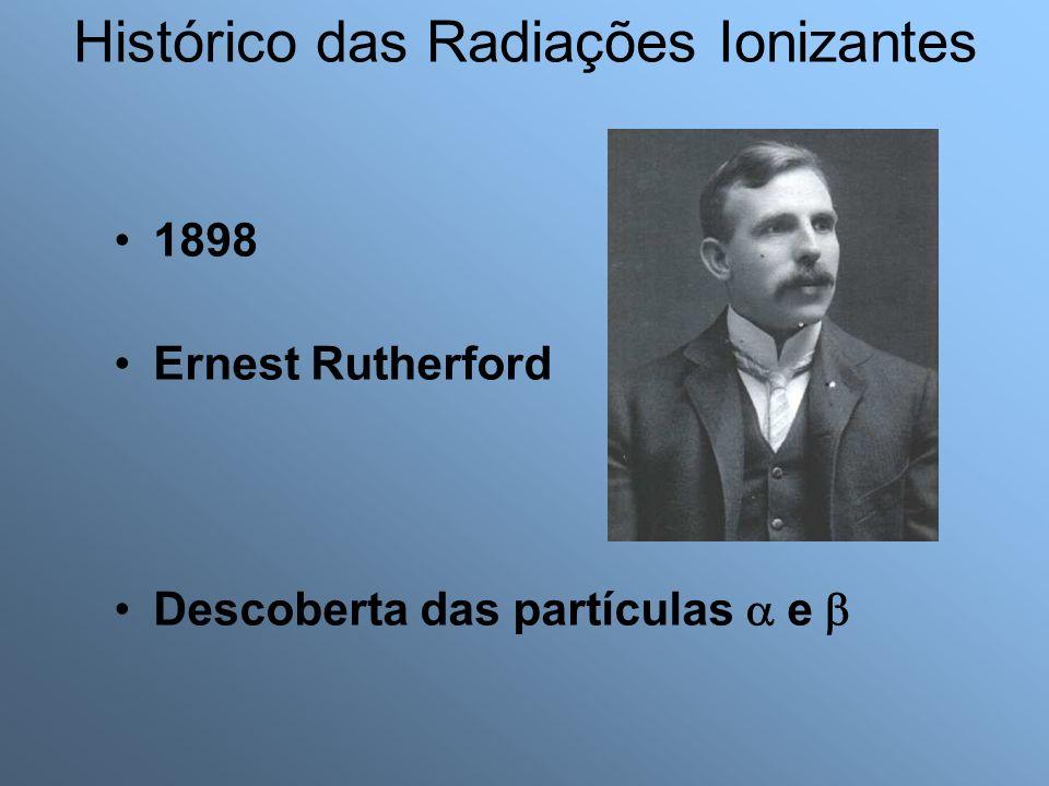 1898 Ernest Rutherford Descoberta das partículas e Histórico das Radiações Ionizantes