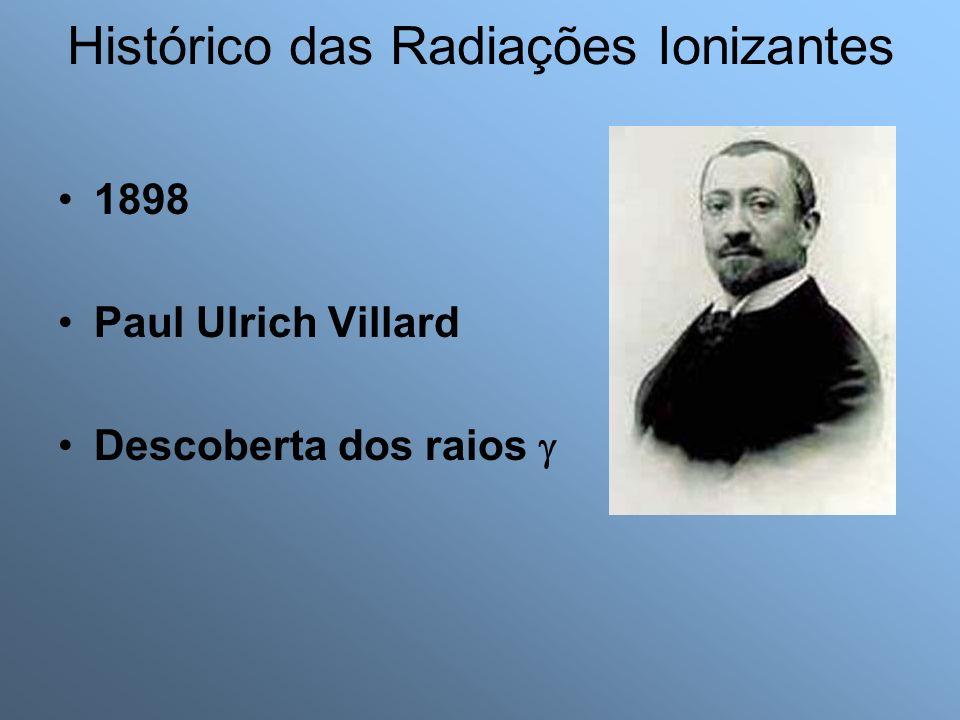1898 Paul Ulrich Villard Descoberta dos raios Histórico das Radiações Ionizantes