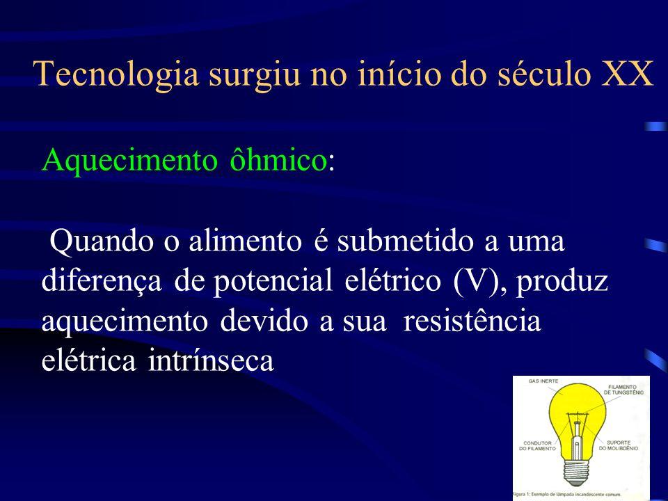 Tecnologia surgiu no início do século XX Aquecimento ôhmico: Quando o alimento é submetido a uma diferença de potencial elétrico (V), produz aquecimen