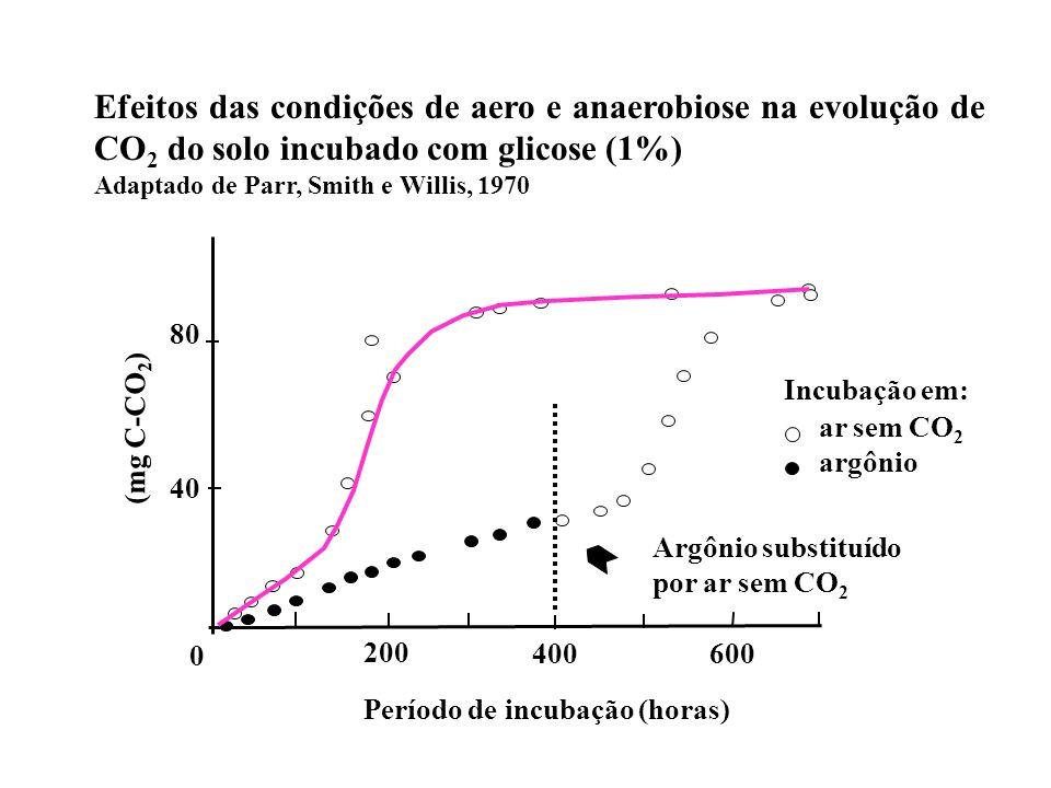Efeitos das condições de aero e anaerobiose na evolução de CO 2 do solo incubado com glicose (1%) Adaptado de Parr, Smith e Willis, 1970 Argônio subst