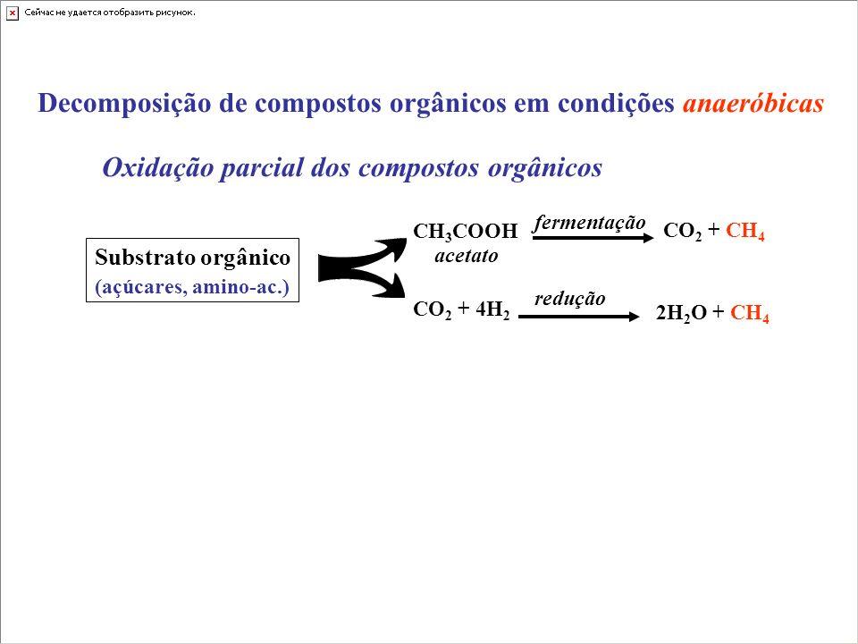 Decomposição de compostos orgânicos em condições anaeróbicas Oxidação parcial dos compostos orgânicos CO 2 + 4H 2 2H 2 O + CH 4 CO 2 + CH 4 CH 3 COOH