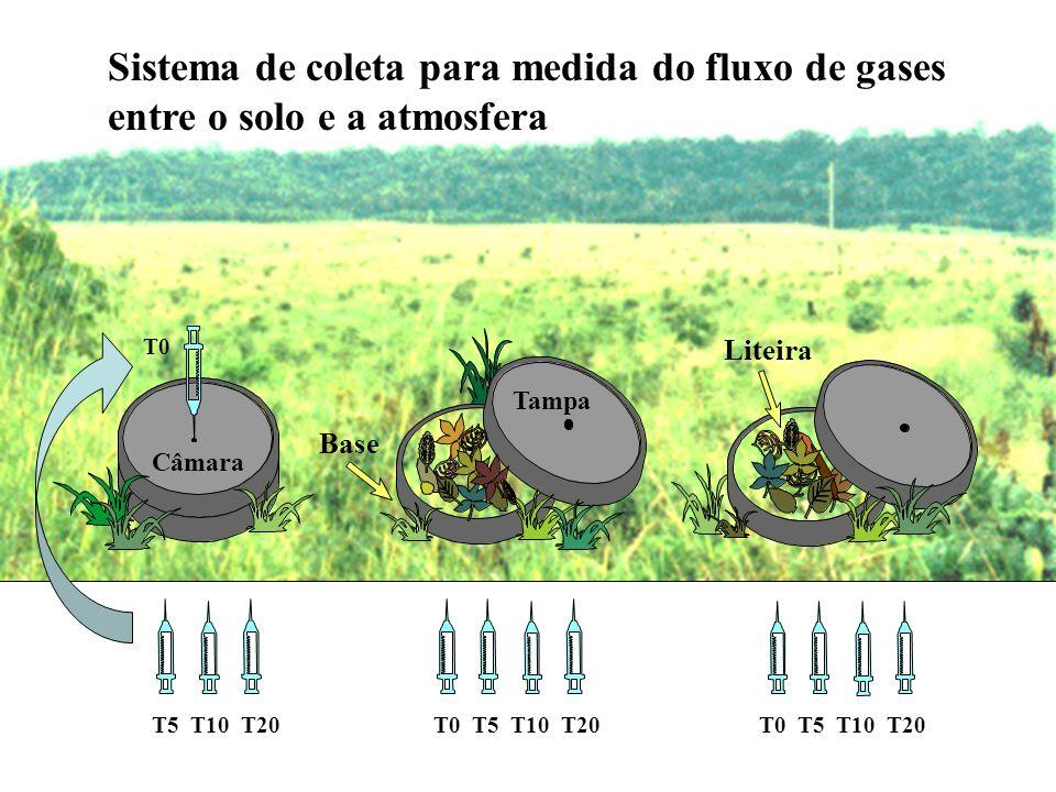 Sistema de coleta para medida do fluxo de gases entre o solo e a atmosfera T0 T5 T10 T20T0 T5 T10 T20 Liteira Tampa Base Câmara