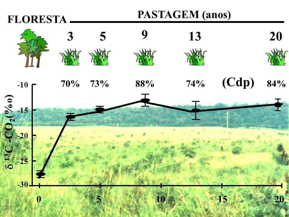 -30 -25 -20 -15 -10 05101520 13 C -CO 2 (% o ) FLORESTA PASTAGEM (anos) 3 5 9 1320 70%88%74%84%73% (Cdp)