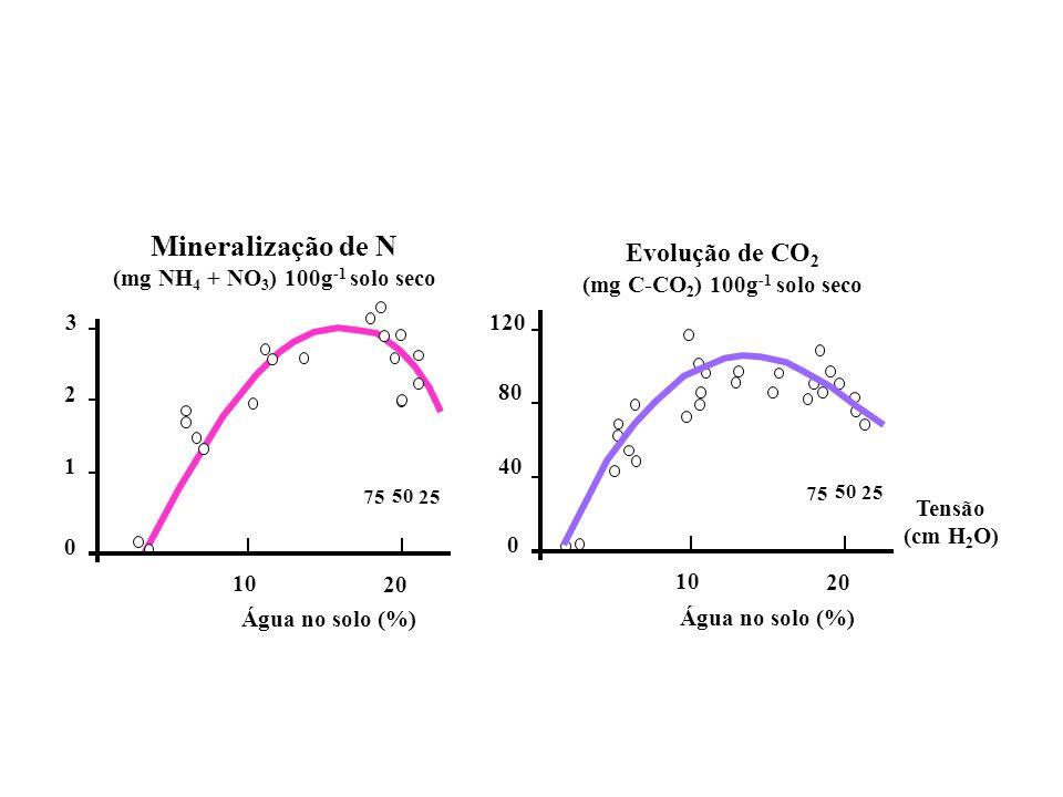 75 50 25 0 3 1 2 Água no solo (%) 10 20 75 50 25 0 120 40 80 Água no solo (%) 10 20 Mineralização de N (mg NH 4 + NO 3 ) 100g -1 solo seco Evolução de