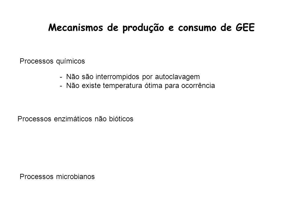 Mecanismos de produção e consumo de GEE Processos químicos Processos enzimáticos não bióticos Processos microbianos - Não são interrompidos por autocl