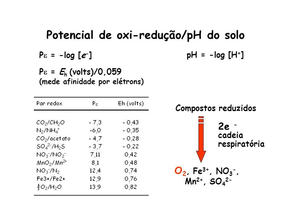Potencial de oxi-redução/pH do solo Compostos reduzidos 2e - cadeia respiratória O 2, Fe 3+, NO 3 -, Mn 2+, SO 4 2- pH = -log [H + ]P = -log [e - ] P